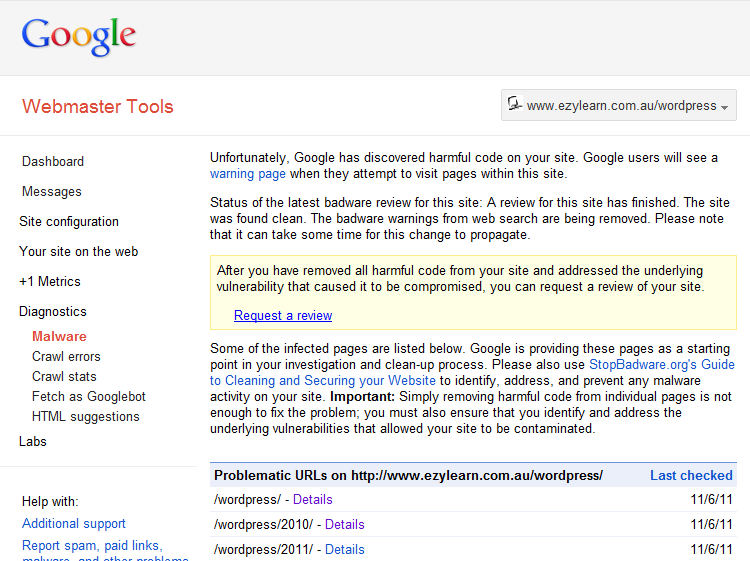 Google Webmaster Tools - Malware Report for WordPress Training Course