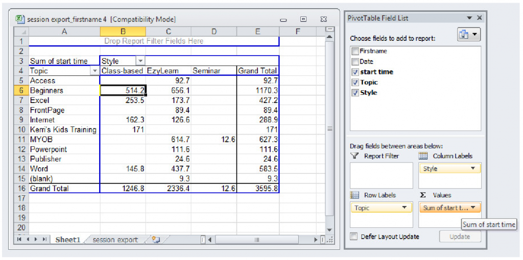Excel Online Training Course 308 - pivot table value field settings