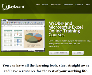 EzyLearn Online Training Course Website for MYOB, Excel and WordPress