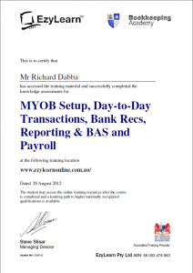 MYOB training course certificate for your resume
