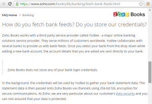 Zoho Books and Bank Feeds