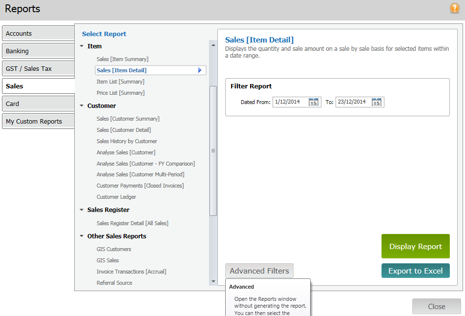 Export Sales Report information from MYOB AccountRight to Microsoft Excel