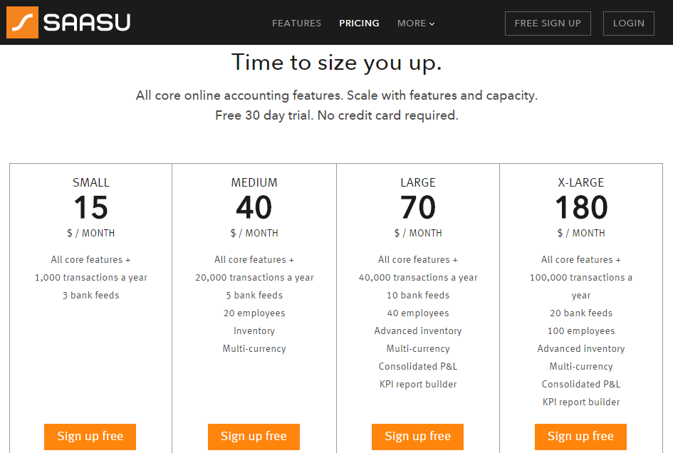 SAASU online cloud accounting free trial and prices