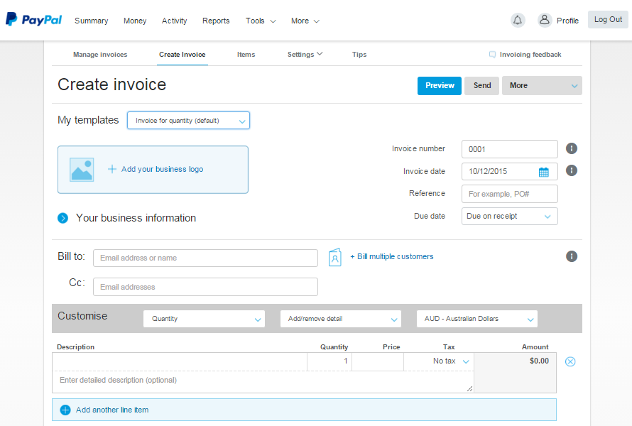 Item invoicing for free accounting using Paypal invoices, how will MYOB, Xero and Quickbooks Compete with free