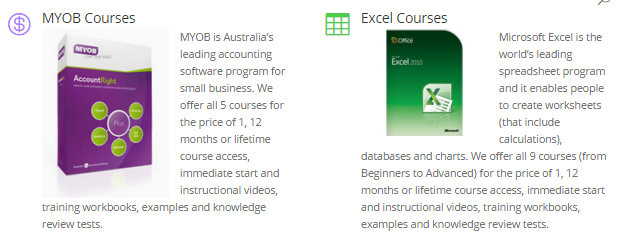 MYOB Training Course and Microsoft Excel Training Course and get free Microsoft Word course