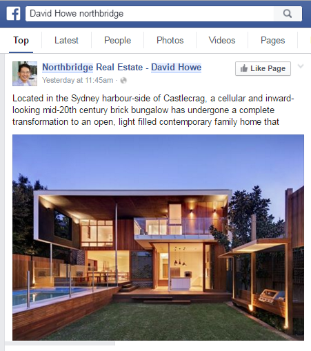 David Howe uses Facebook to showcase properties that are currently available for sale in Northbridge NSW