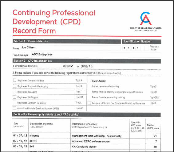 Continuing professional development CPD record form for accountants and bookkeepers from Chartered Accountants Australia