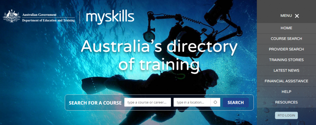 Federal Government Department of Education and Training myskills website check on RTOs and accredited courses