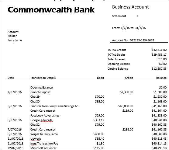 Bank Statement for Bank Reconciliation Courses in MYOB, Quickbooks and Xero