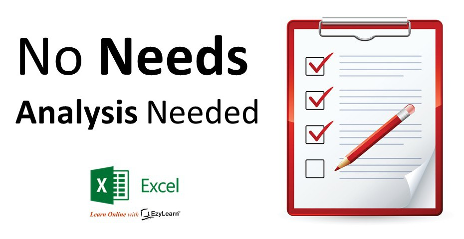 No Training needs analysis needed for beginners intermediate advanced excel courses