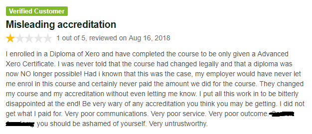 Misleading Accreditation regarding Diploma in Xero Course, now Statement of Attainment is being promised by non-accredited training companies - redacted