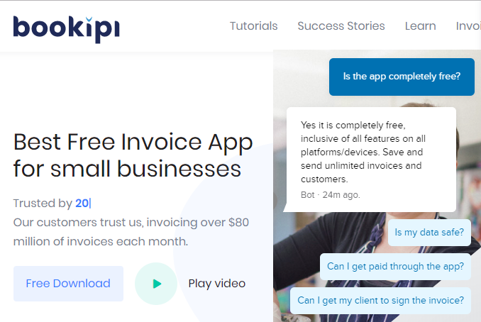 Bookipi and Payroller - getting paid through app and customer signing the invoice - free accounting courses
