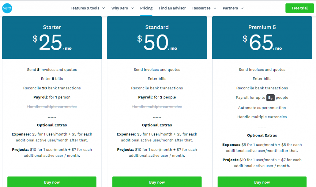 Xero Accounting Pricing Comparison shows extra for Projects and Expenses - Online Training Courses & Advanced Xero Certificate