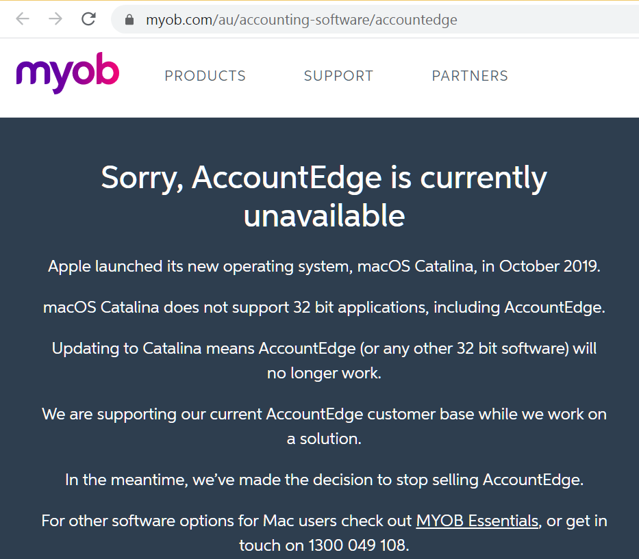 MYOB AccountEdge is currently unavailable - Apple Catalina made MYOB promote MYOB Essentials Online training courses