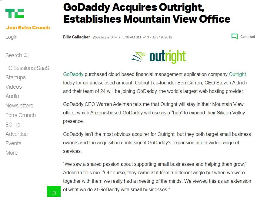 TechCrunch writes GoDaddy thinks accounting software (competes with Xero) is logical for small businesses - online training courses