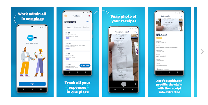 Xero Me App Screens - Employees can request leave, submit expense claims and view payslips - Best Xero Online Training Courses - EzyLearn